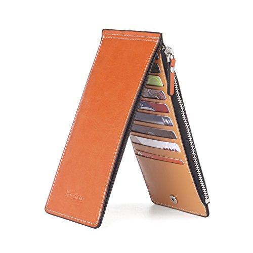 Noedy Womens Thin Multi Card Case Organizer Wallet with Zipper Pocket Orange