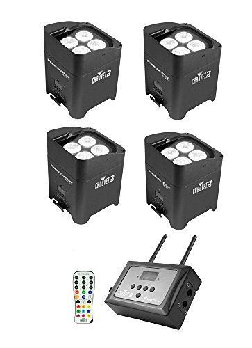 4 x Chauvet DJ Freedom Par Quad-4 LED Lighting Fixture Black with FlareCon Air Wireless Transmitter and IRC-6 Remote