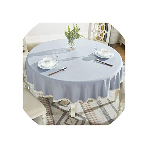 Round Table Cloth Cotton Linen Table Cover Plaid