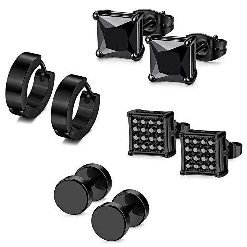 (ORAZIO Stud Earrings for Men Women Stainless Steel Huggie Earrings Small Hoop Earrings (C:4Pairs Black))