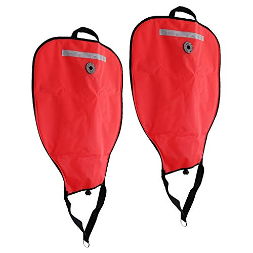 - SM SunniMix 2Pcs/Set High Visibility Reflective Scuba Diving Dive 50lbs Lift Bag SMB Safe Marker Buoy & Over Pressure Relief Valve - Red