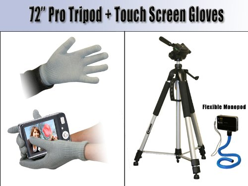 Professional 72 inch Tripod for Nikon Coolpix P80, P90, P100 with Flexible Monopod and Touch screen gloves for Phones, Cameras and more