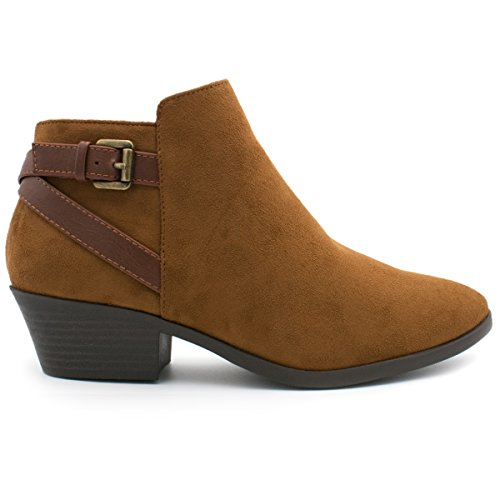 SODA Women's Round Toe Faux Suede Stacked Heel Western Ankle Bootie Light Cognac 7