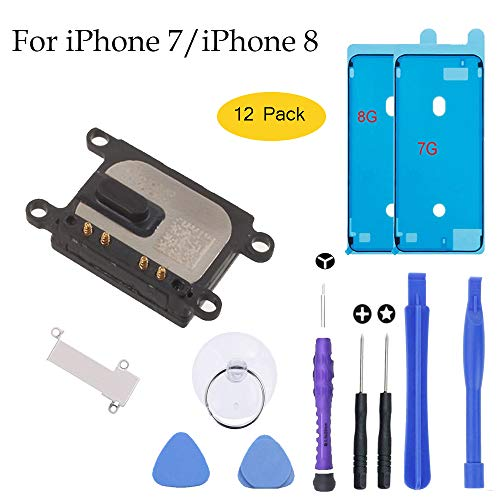 Earpiece Ear Speaker Replacement for iPhone 7,iPhone 8 with Earpiece Metal Bracket and Tools and Screen Adhesive ()