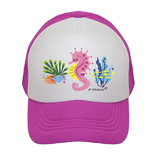 Seahorse on Kids Trucker Hat. The Kids Baseball Cap is Available in Baby, Toddler, and Youth Sizes. (Kiddo 2-5 Yrs, Hot Pink)