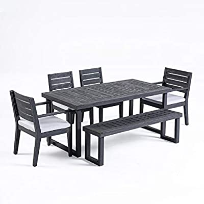 Great Deal Furniture Kemp Outdoor 6-Seater Acacia Wood Dining Set with Bench, Sandblast Dark Gray and Light Gray - ACACIA WOOD: Our dining set is made with acacia wood that brings a sleek and exotic look to your space. This durable hardwood naturally withstands outdoor elements and will not darken over time. Acacia wood is perfect as a solid, heavy frame that resists wear and tear. WATER-RESISTANT CUSHIONS WITH VELCRO TIES: Our cushions are covered with a non-porous material that makes cleaning any spills a breeze. Including Velcro ties that ensure that they don't move while in use, you can spend all summer lounging outdoors in comfort. Please note that these cushions are water-resistant and not waterproof. Please do not submerge in water. DURABLE AND STYLISH: Our sturdy acacia wood frames not only offer plenty of support and glamour to your patio space, but they will also complement any scheme of décor. Featuring a traditional wood slat look, this classic style takes on a modern upgrade with its straight, clean lines and simple colors. - patio-furniture, dining-sets-patio-funiture, patio - 41r7c0ncw%2BL. SS400  -