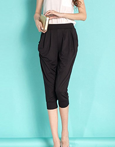 Baggy Casual Jogging Pantaloni Larghi Sportivi Harem Nero Forti Eleganti Donna Pantaloncini Taglie Yoga Pantaloni Capri 0xq0FStgn8