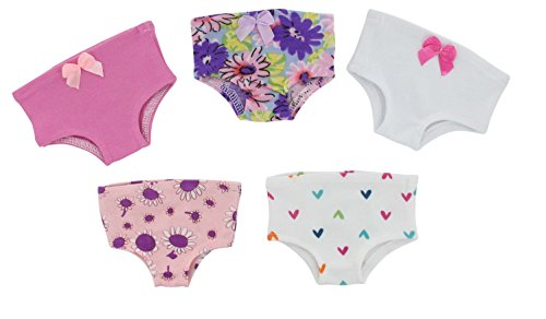 PZAS Toys 18 Inch Doll Clothes - 5 Piece Doll Underwear Set, Fits American Girl Doll