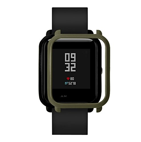 ChainSee Colorful PC Edge Case Cover Protect Bumper Shell for Xiaomi Huami Amazfit Bip Youth Watch (Army Green)