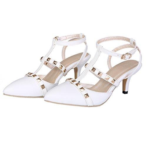 YE Damen Spitze T-spangen klein Absatz Kitten Pumps mit Nieten und Schnalle Schuhe Weiß