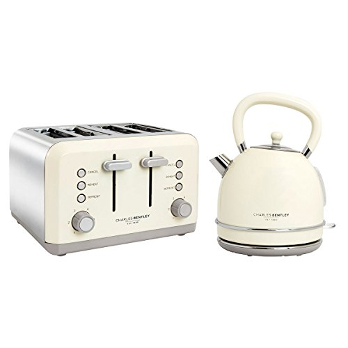 Charles Bentley Cream 3Kw 1.7 Kettle and 4 Slice Toaster Set New Made of Stainless Steel - Fully Assembled