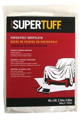 Trimaco 02301 9' X 12' SuperTuff Paper & Poly Drop Cloth
