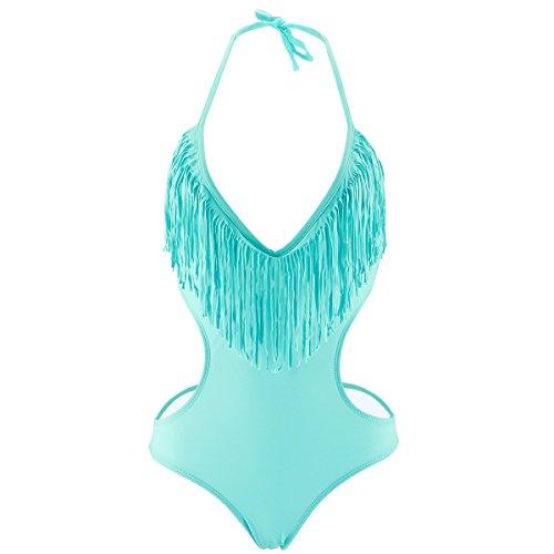 8bcf9f0b752 HAWEE Sexy One Piece Swimwear Deep V Neckline Beachwear Bikini Monokini  Swimsuit for Women with Fringed