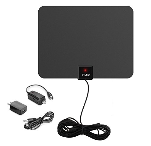 Vilso Flat HD Digital Indoor Amplified TV Antenna with Detachable Signal Booster, 60 Miles Range, 12-Feet Coax Cable, Black (Lava Indoor Tv Antenna)