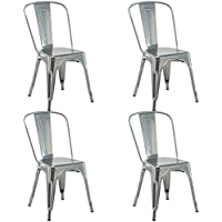 Costway Tolix Style Metal Dining Chair Highback Stackable Cafe Side Chair Set of 4 (Silver)
