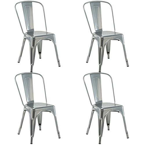 COSTWAY 4 Set of 4 Tolix Style Metal Stackable Industrial Vintage Chic High Back Indoor Outdoor Dining Bistro Café Kitchen Side Chair (Silver) (High Back Stackable)