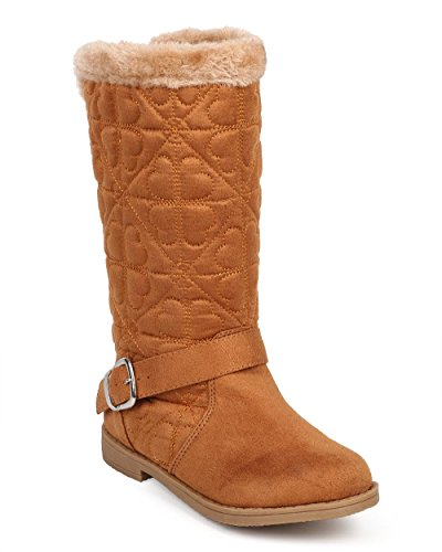 Little Angel Girl's Quilted Hearts Fur Lined Winter Riding Boots, Tan, 4 (Quilted Heart Box)