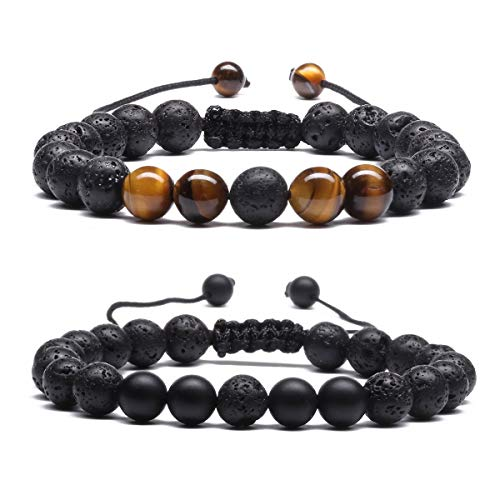 Matte Tiger Eye Beaded Lava Stone Aromatherapy Essential Diffuser Bracelet for Women Men Braided Rope Natural Bangle 2Pcs E034CD