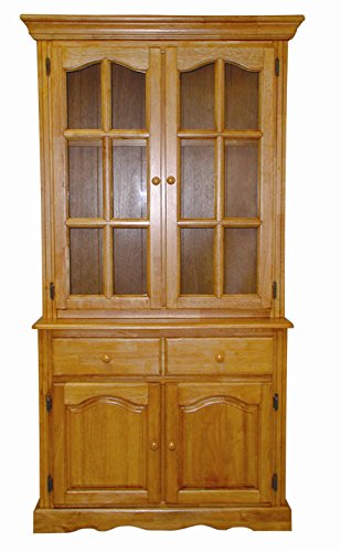 - Sunset Trading Keepsake Buffet and Lighted Hutch, Light Oak Finish