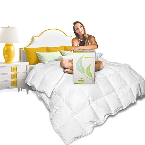Cucuun Summer Lightweight Goose Down Comforter Queen Size Duvet Insert Solid White 1200 Thread Count 750+ Fill Power 100% Egyptian Cotton Shell Hypo-allergenic Down (Cotton Comforters Queen)