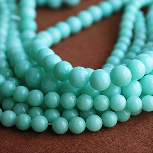 6mm Light Green Jade Beads,Chalcedony Loose Beads for Jewelry Making (YS18) (6mm) ()