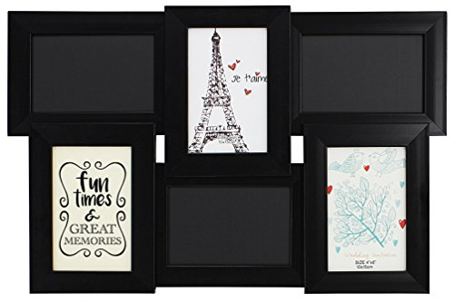 Family Time Photo (Family Tree Frame Fun Times & Memories Chalkboard Picture Frame Black Wood 6-Panel 4x6 Photo Frame)