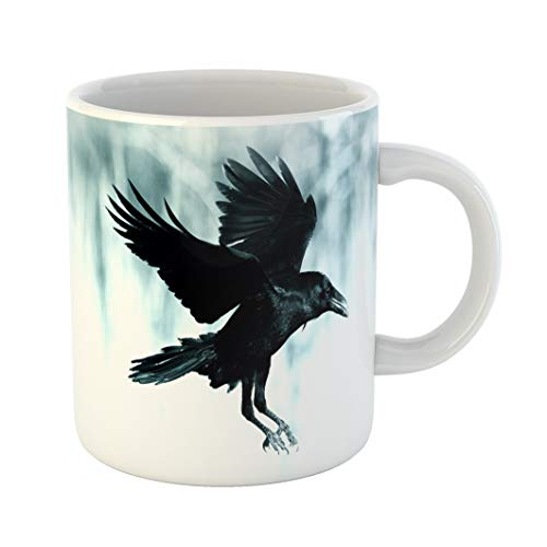 Emvency Coffee Tea Mug Gift 11 Ounces Funny Ceramic Black Raven Flying in Moonlight Scary Creepy Gothic Setting Cloudy Night Gifts For Family Friends Coworkers Boss Mug -