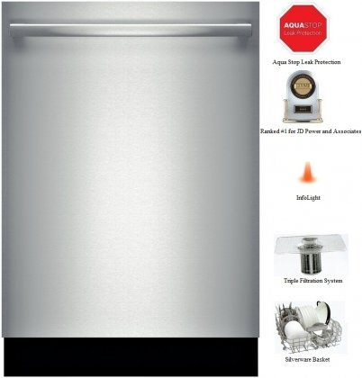 """Bosch 800 Series SHX68T55UC Fully Integrated Built-in Dishwasher 24"""" in Stainless Brace"""