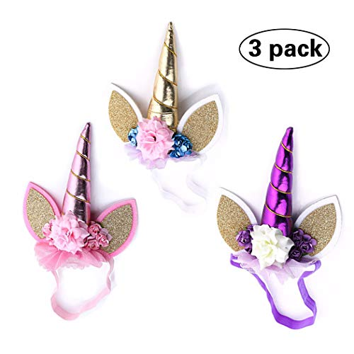 Yean Unicorn Headband Halloween Decorations Animal Ears Horn Birthday Newborn Cosplay Costume Flower Hair Hoop for Adult and Chid (Pack of 3) ()