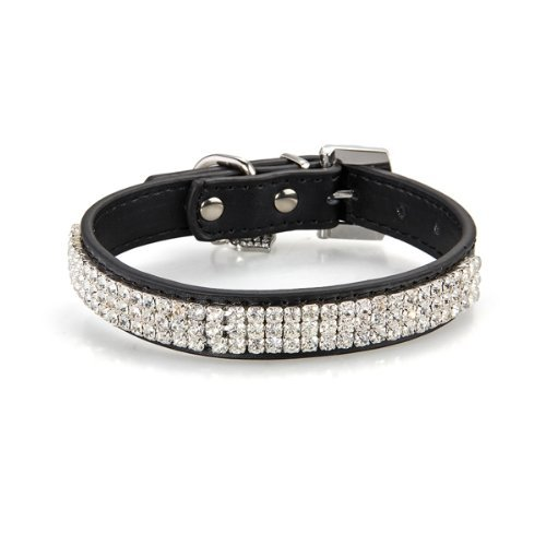 SODIAL(R) Black Leather Rhinestone Diamante Bling Dogs Cats Pets Puppy Neck Collars M