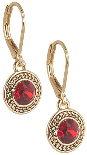 Red And Gold Tone Earrings - 5