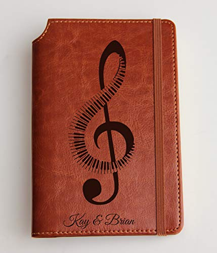 Music journal with piano or guitar treble clef and Custom text or custom quote leather bound, strip with the same color to keep it closed, jotter, scribbling pad, pet loss journal - Leather Traditional Note Jotter
