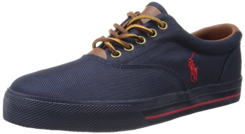 Polo Ralph Lauren Men's Vaughn Nylon Sneaker,Newport Navy/Red Nylon,12 D US