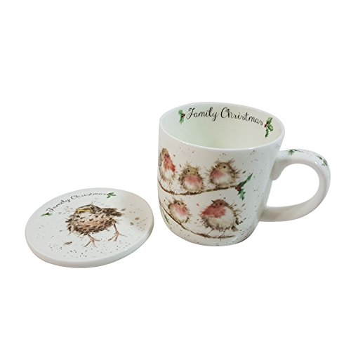 - GIFT BOXED ROYAL WORCESTER CHRISTMAS ROBIN BONE CHINA MUG & COASTER SET