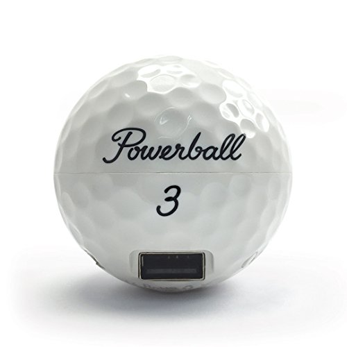 Powerball Golf Ball Power Bank 3000mAh Compact Pocket Size USB Portable Charger with Charging Cable for iPhone, Samsung Galaxy and compatible with most other Smartphones.