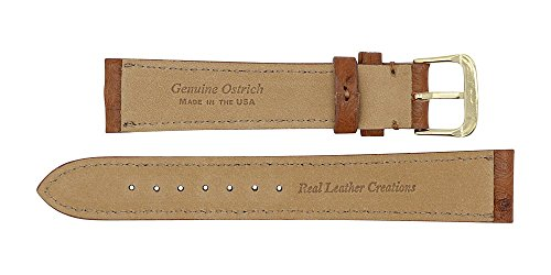 22mm Cognac Genuine Ostrich - Padded Stitched – Factory Direct - Replacement Watch Strap Band - Gold & Silver Buckles Included –Made in The USA by Real Leather Creations FBA143 by Real Leather Creations (Image #3)