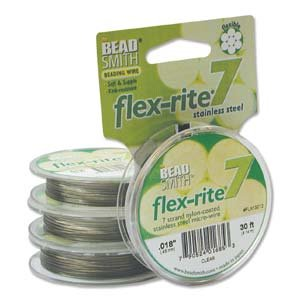 Clear Coat Flex Rite Beading Stringing Wire .018 Inch 30 Feet Nylon Coated Stainless Steel 7 Strand Tigertail 20.6lb Break