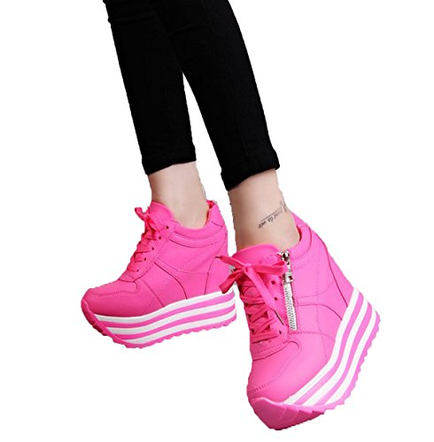 YC WELL Womens Increased Within The Higher Flat Shoes Casual Lace Up High Heels Wedges Platform Sneaker Heavy-Bottomed Shoes(Rose,6.5)