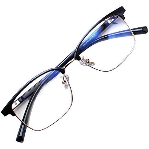 Blue Light Blocking Glasses Women Men Computer Glasses Feirdio Blue Light Glasses 52010 (Bright Black Gun)