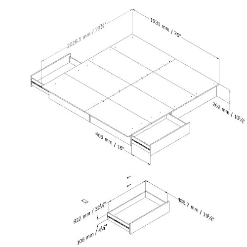 South Shore Step One Platform Bed with 2 Drawers, King 78-Inch, Chocolate