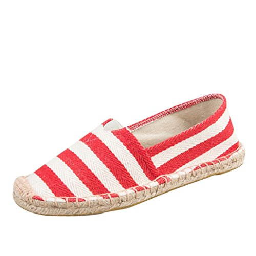 Sikye Casual Flats,Men and Women's Striped Canvas Loafers Summer Couple Shoe Slip-On (Red, CN Size:40) by Sikye