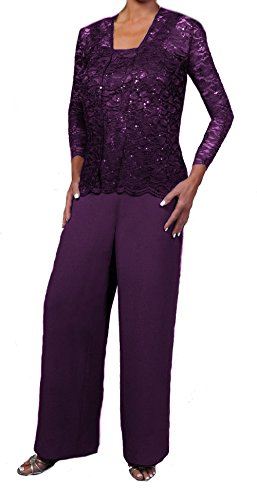Love My Seamless Elegant Mother Of The Bride Formal 3 Piece Pant Suit Lightly Beaded Lace (XL, Plum)