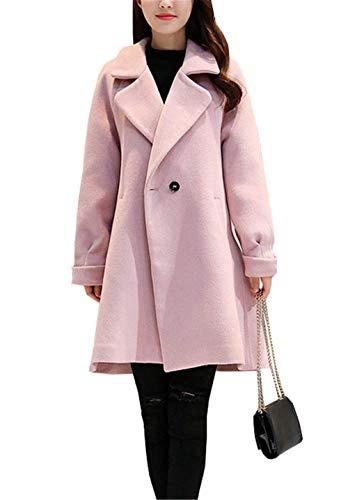 Comodo Termico Puro Lunga Donna Cappotti Grazioso Invernali Invernali Colore Calda Lana Baggy Rosa Lunga Cappotto Outerwear Cappotti Manica Bavero dwqY5E7qx