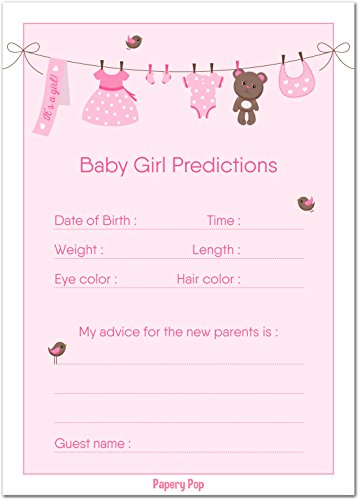 Papery Pop 30 Baby Shower Prediction and Advice Cards for the Baby Girl - Baby Shower Games Decorations Activities Supplies Invitations