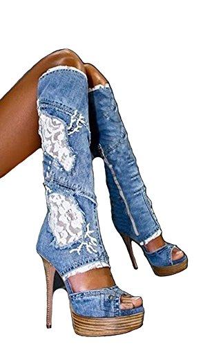 Amy Q Vrouwen Denim Dij Hoge Over De Knie Laarzen Peep Toe Hoge Hak Laarzen Maat 4-15 Ons Kant Laarzen