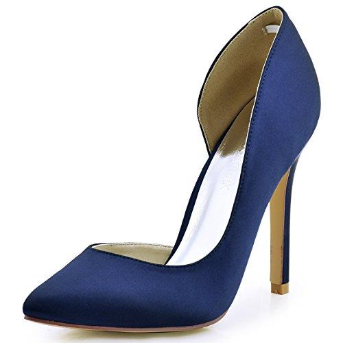 ElegantPark HC1601 Women's Pointed Toe High Heel D'Orsay Satin Dress Pumps Navy Blue US 9