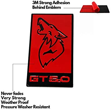 pack of 1 RED GT 5.0 RED SHELBY COBRA GT Emblem Badge Stickers Decals with Strong 3M Includes instructions MEASURE Before Purchase Fitment Top Quality fit For MUSTANG AMDCO