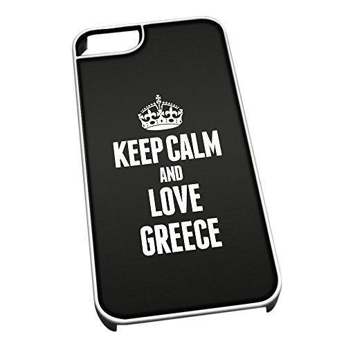 Bianco cover per iPhone 5/5S 2198nero Keep Calm and Love Grecia