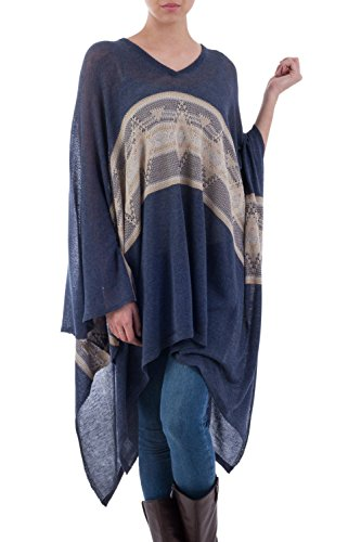 NOVICA Navy Cotton Blend Striped Woven Poncho, Inca'