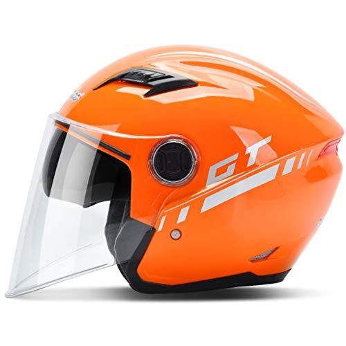 NJ ヘルメット- 電動バイクバッテリーカーヘルメット男性と女性四季ユニバーサルヘルメット (色 : オレンジ, サイズ さいず : 18x21.5cm)